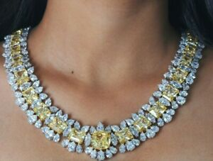925 Sterling Silver Necklace Yellow radiant cluster tennis statement