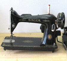 1951 SINGER SEWING MACHINE ***FOR PARTS***WITH FLOWER DESIGN~ATTACHED MINI LAMP~