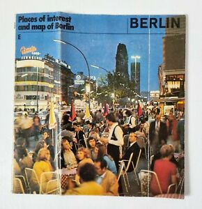 Vintage 1980s Map of Berlin / Places of Interest Square Fold Up