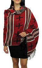 #4211 Woven Shawl Wrap Very Soft Wool Accessory Reversible Artisan Scarf Cape