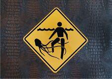 "JELLYFISH DANGER SIGN    /    16"" X 16"" ALUMINUM  BEACH WARNING PLAQUE"