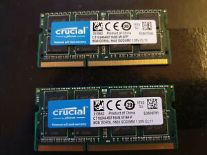 Lot de 16GB 2x CRUCIAL 8GB RAM PC3L DDR3L-1600 1.35v CL11 CT102464BF160B.M16FP