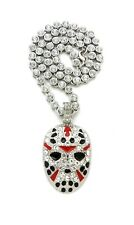 """JASON MASK PENDANT WITH 20"""" 5mm ICE BLING CHAIN"""
