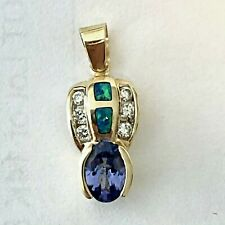 14K Yellow Gold Diamond Tanzanite Australian Black Opal Charm Pendant Not Scrap