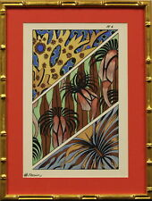 Raskin Fantaisies Oceanographiques #6 Colour Pochoir c1926 in Gilt Bamboo Frame