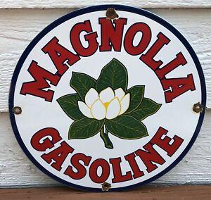 VINTAGE MAGNOLIA FLOWER GASOLINE MOTOR OIL PORCELAIN ENAMEL GAS PUMP SIGN
