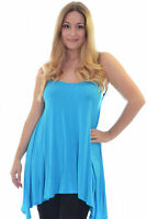 New Plus Size Top Womens Plain Strappy Sleeveless Ladies Swing Cami Vest 14 - 28