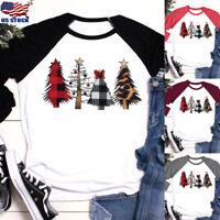 Women's Christmas Tree Print T-shirt Xmas Long Sleeve Casual O Neck Tops Blouse