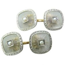 Pearl 14K Gold Cufflinks 1920s Art Deco Rock Crystal