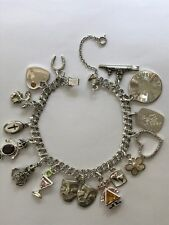 Vintage Sterling Silver Charm Bracelet With 15 Sterling Silver Charms