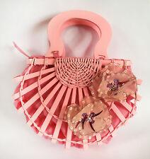Pink Wooden Wicker Handbag Purse