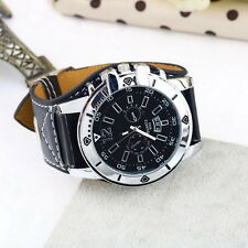 Large dial Watch Face Wide Band Men Boy Wristwatch PU Leather Stainless Steel UL