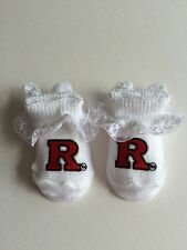Creative Knitware Rutgers Scarlet Knights Baby White Lace Boties Gift Boxed