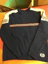 VTG Charles Wolf Sweater Sz M Navy Red White Wool Norway Ski Snowboard EUC