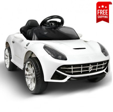 Kids Toy Ride On Sports Car Ferrari Manual and Remote Control Twin Motor - White