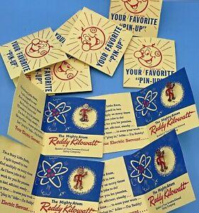 10 PIECES - Vintage 1955 Reddy Kilowatt Mighty Atom Pin Ready Running Red Enamel