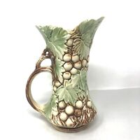"1940s McCoy Pottery Pitcher Vase Grapes Leaves Green Brown 9.5"" Tall Made USA"