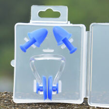Swimming Nose Clip Ear Plugs W/ Clear Case Set Swimmer Unisex Adults Childs Kids