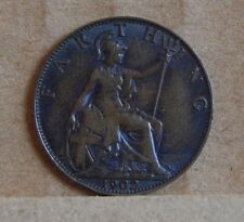 1902 Farthing King Edward VII 1/4 of English D Copper Coin