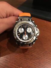 Mens Swiss Tissot T-Race Chronograph Orange Band 100M WR T011417A