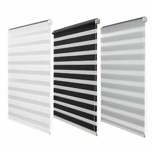 Day and Night Window Roller Blinds Zebra Black White Grey 5 Sizes 150cm Drop