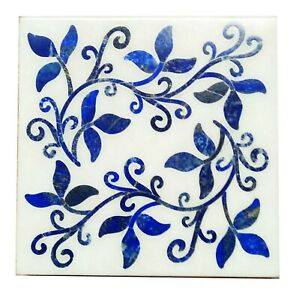 """15"""" White Square Marble Table Top Lapis Marquetry Big Floral Inlay Art Deco W571"""