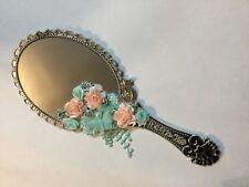 Beautiful decorative mirror, handmade, blue and peach floral art
