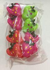 Pinces Barrettes Crabe X8 Cheveux Fille Forme Fraise - Rouge/Vert/Fushia