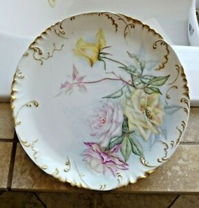 Beautiful Hand Painted HAVILAND Limoges Antique Charger Plate Roses 1888 - 1896
