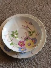 TUSCAN VINTAGE CHINA WHITE WITH PAINTED FLOWERS & GREEN TRIM PLATE & SAUCER