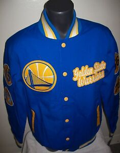 GOLDEN STATE WARRIORS NBA CHAMPIONS Cotton Jacket  S M L XL 2X BLUE YELLOW