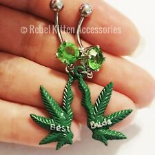 14g Pot Leaf Best Buds Boho Navel Belly Button Ring Piercing Body Jewelry