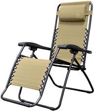 Zero Gravity patio chair Outdoor Furniture Comfort Headrest Beige NEW Free Ship