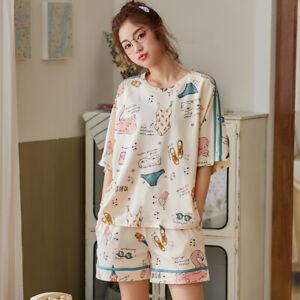 Women Cartoon Pajamas Set Short Sleeve Cotton Pyjamas Homewear Summer Nightwear