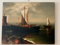 Oil painting on Canvas by Arthur Upelnieks Canvas Modern Art signed Sailboats