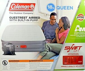 Coleman GuestRest Queen Airbed Built-In Pump Antimicrobial Sleep Surface NEW