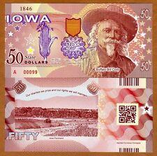 USA States, Iowa, $50, Polymer, ND (2017), UNC > Buffalo Bill Cody