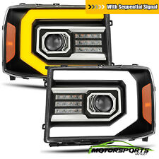 [Sequential Signal/DRL] For 2007-2013 GMC Sierra Black Projector Headlights