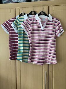 Striped T Shirt Bundle, Ladies, Cotton, 3 Tops, Size 12, Multicoloured❤️charity