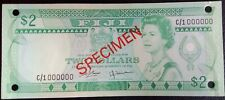 Fiji, 2 dollars Specimen, ND (1980) P-77s, UNC, Signatures: Barnes - Tomkins