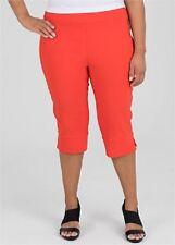 Plus Size Orange Shorts / Cropped Pants Elastic Waist  -Knee Length Size 16