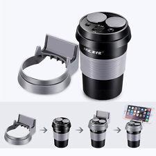 2 Way Dual USB Cigarette Lighter Car Charger + Voltage Display Cup Holder Black