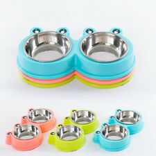Double Dog Pet Bowls Cat Dish Stainless Steel Stand Feeder Cat Food Water Bowl