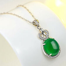 Natural Emerald & Diamond Wedding Pendant Green Silver Jewelry Gift
