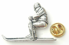 Skier Winter Sport Handcrafted from English Pewter in the UK Lapel Pin Badge