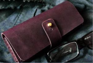 men women Eyeglass Cases sunglass bag holder cow Leather Customize wine red z324