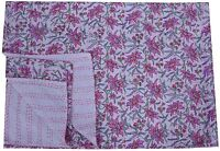 Indian White Hand Block Print Kantha Throw Quilt Twin Reversible Floral Bedding