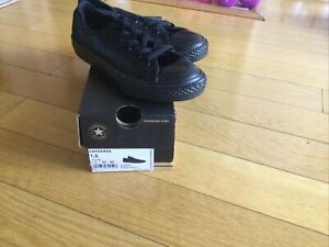 Converse All Star Chuck Taylor Kid's Youth Canvas Low Top Shoes All Black 1.5