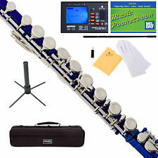 Mendini Mfe-bl SD PB 92d Blue Lacquer Closed Hole C Flute With 1 Year