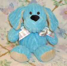 "ANIMAL ADVENTURE 10"" PLUSH BLUE CHENILLE RIBBED PUPPY DOG TAN EARS PLAID BOW EUC"